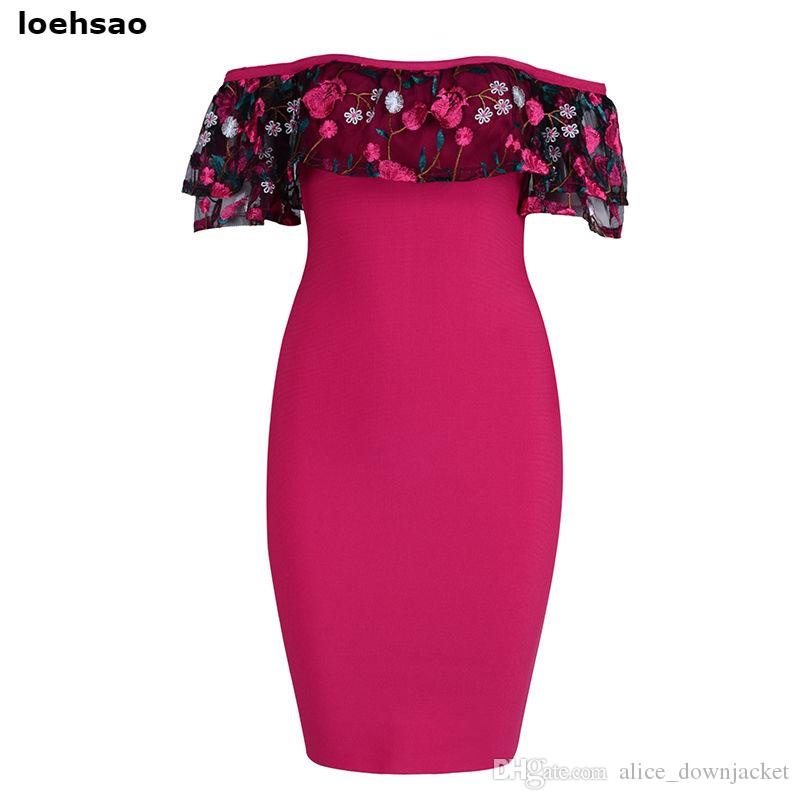 New 2018 Floral Embroidery Bodycon Bandage Dress Women Summer Dress Vestido Pink Blue Red Wedding Evening Club Party Dresses