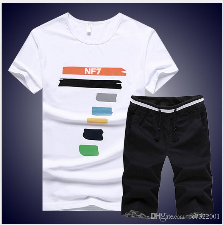 9ed91339ba4e 2019 2018 Brand Casual Suit Men Summer Sets Active Tracksuits For Mens  Stand Collar S Vetement Homme Streetwar Tops Tees   Shorts Set From  Pc7322001