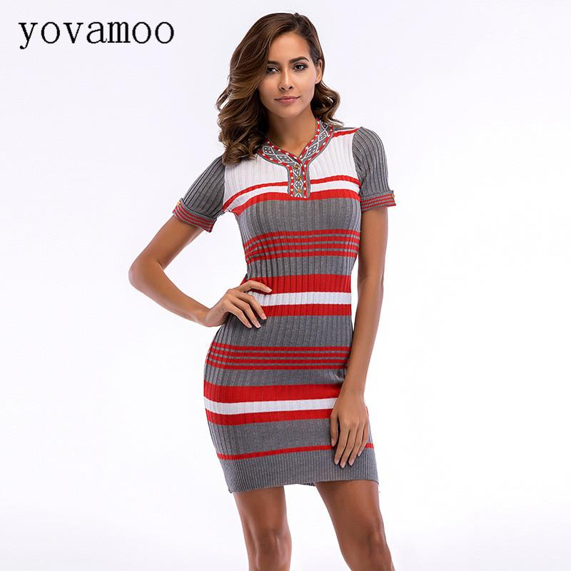 696ac62b6040 Yovamoo 2018 Vintage Women S Knitted Dress Summer Striped Color Block Short  Sleeved Tight Fitting Casual Pencil Bodycon Dresses Canada 2019 From  Xinpiao