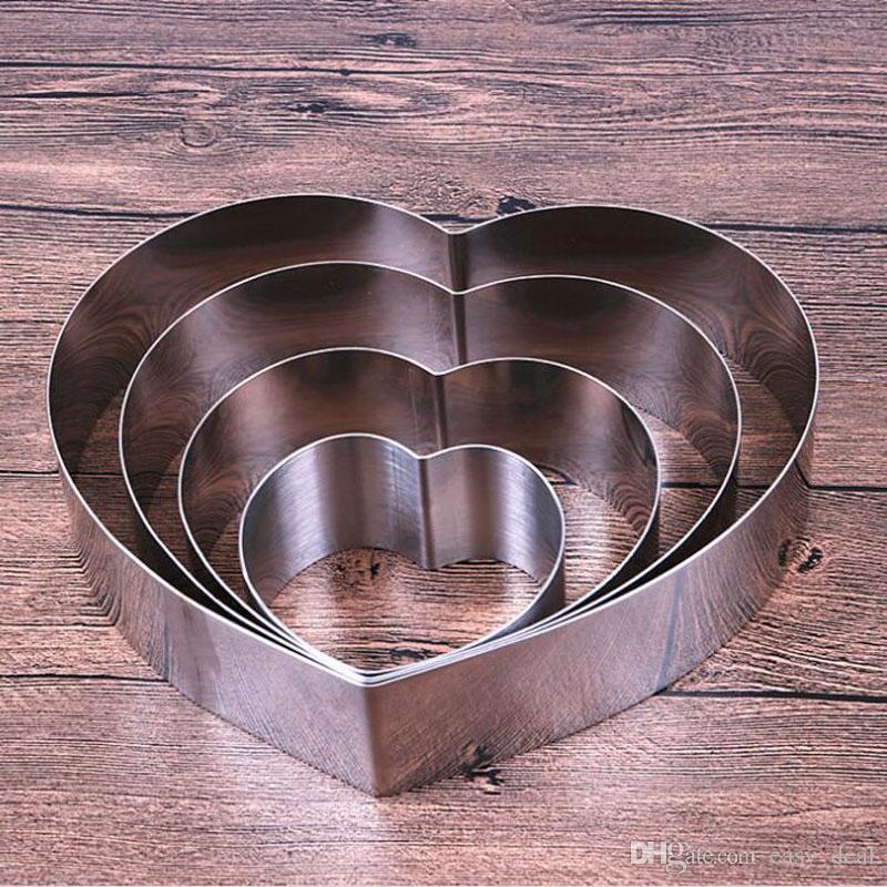 7 teile / satz 4-10 zoll herzform mousse ring form edelstahl süßigkeiten brot käse kuchenform backen werkzeug ZA6873