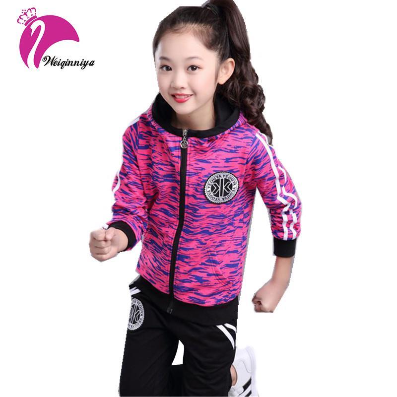 reputable site 6cb73 12909 Completi da bambina sportivi Completi da donna Autunno Casual a righe  Cappotto + pantaloni 2Pc Tuta da ragazza 2018 Completi da bambino per  bambini ...