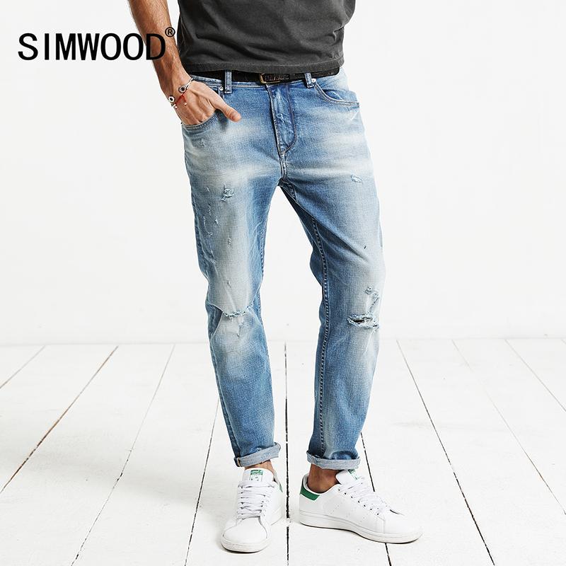38299f50fe Compre SIMWOOD 2018 Otoño Nuevo Agujero Jeans Hombres Pantalones Hasta El  Tobillo Pantalón De Mezclilla De Algodón Masculino Slim Fit Más Tamaño De  Alta ...