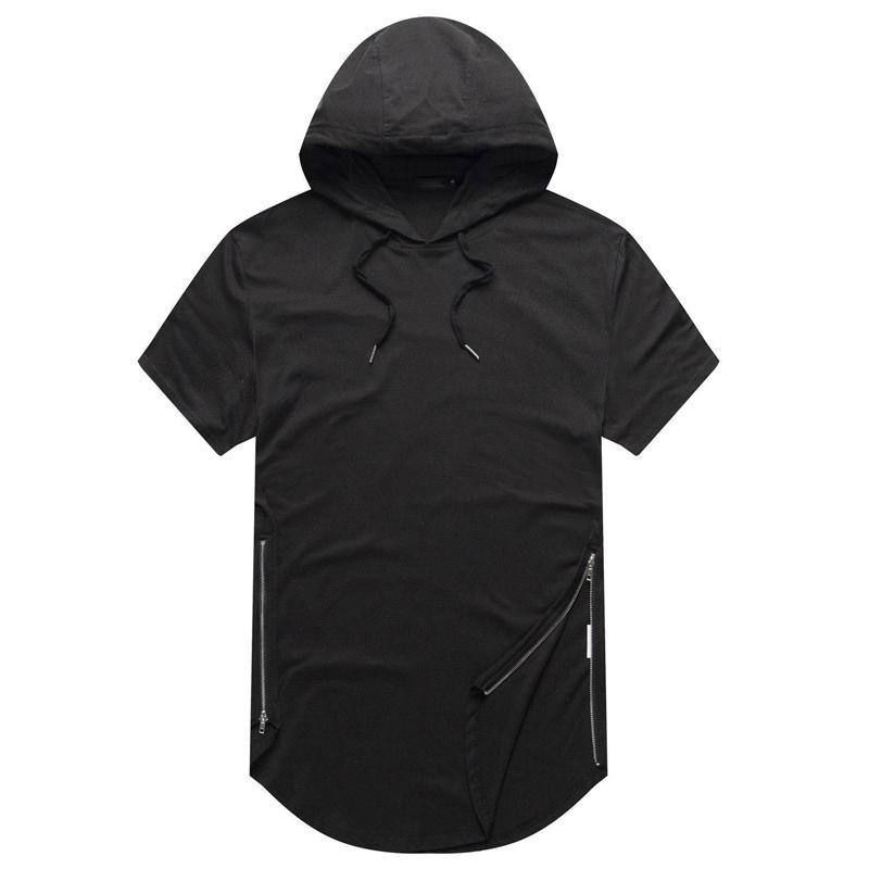 de1963f8adb Hip Hop T Shirt Mens Hooded T-Shirt Hipster Hiphop Streetwear T Shirt Men  Longline Zipper T Shirts Short Sleeve Tees