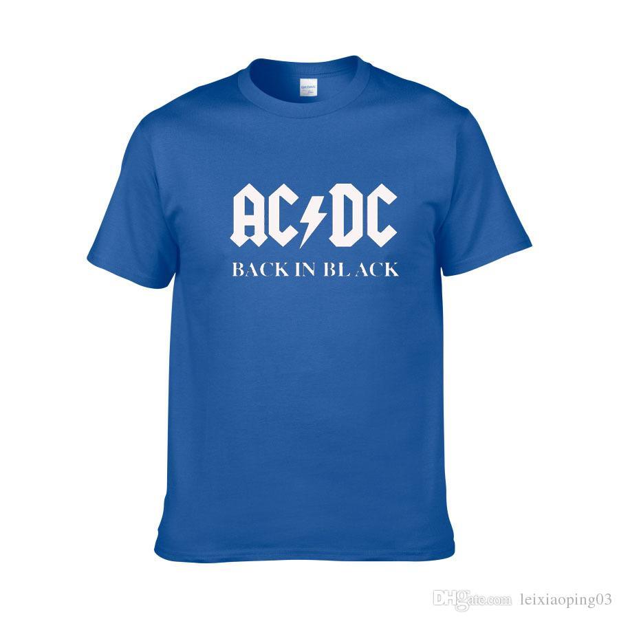 AC / DC группа Рок футболка мужская женская ACDC черный письмо печатных графический футболки хип-хоп рэп музыка с коротким рукавом футболки