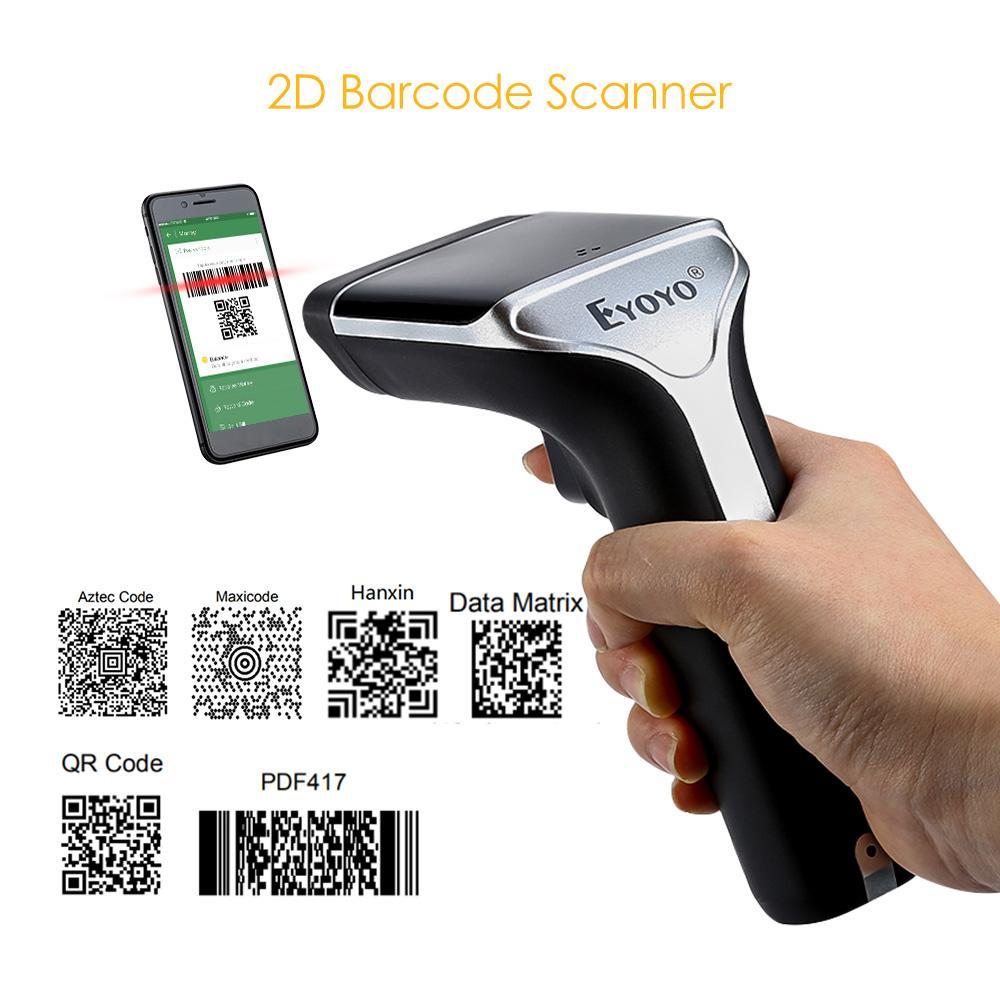 EYOYO EY-007A Portable 2D Wireless Scanner 2 4G 100m Transmission 1D/2D/QR  Code Reader Wireless Barcode Scanner 2D