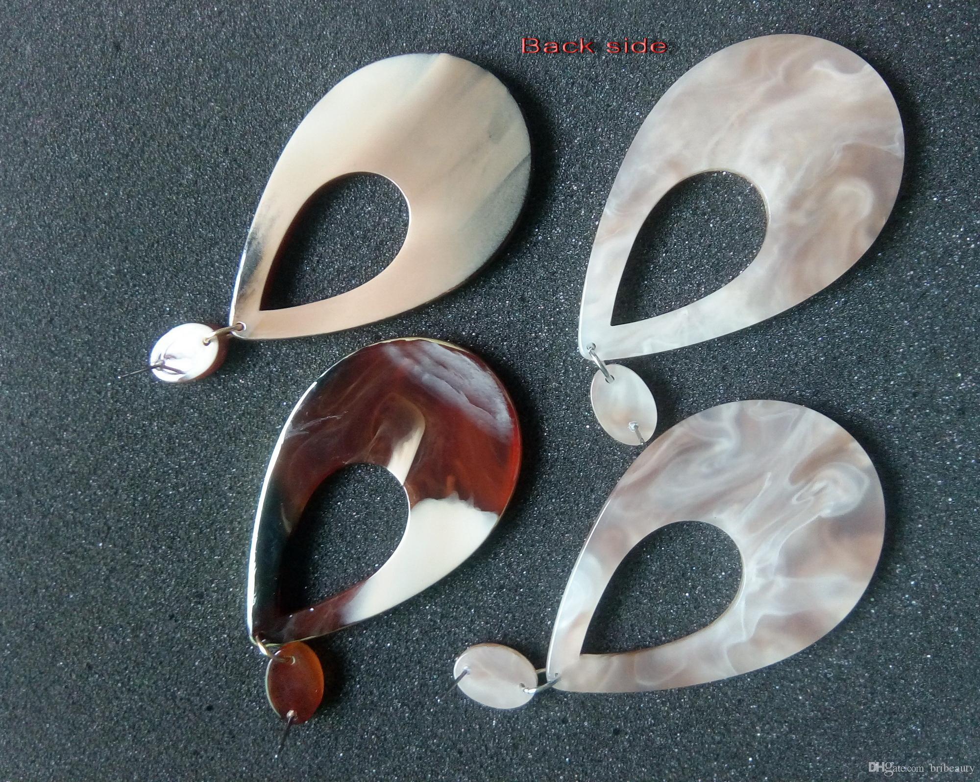 Marblized acrilico orecchini di goccia Large Scale doppio resina colore borchie con oro o argento Telaio Dichiarazione geometrica femmina orecchino Brincos
