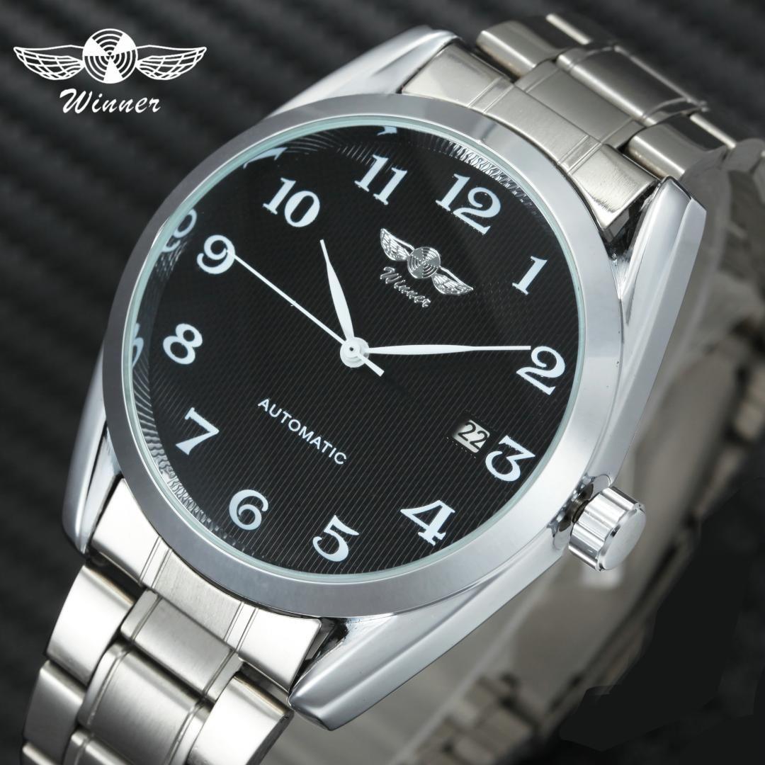 winner classic business men auto mechanical watch minimalist black