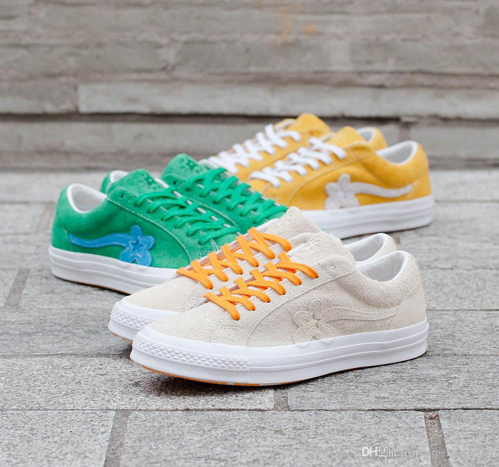 1ac7c6eb804a With Box TTC The Creator X One Star Golf Ox Le Fleur Wang Green Yellow  Beige Sunflower Casual Fashion Running Skate Shoes Sneakers Shoes Geox  Shoes From ...