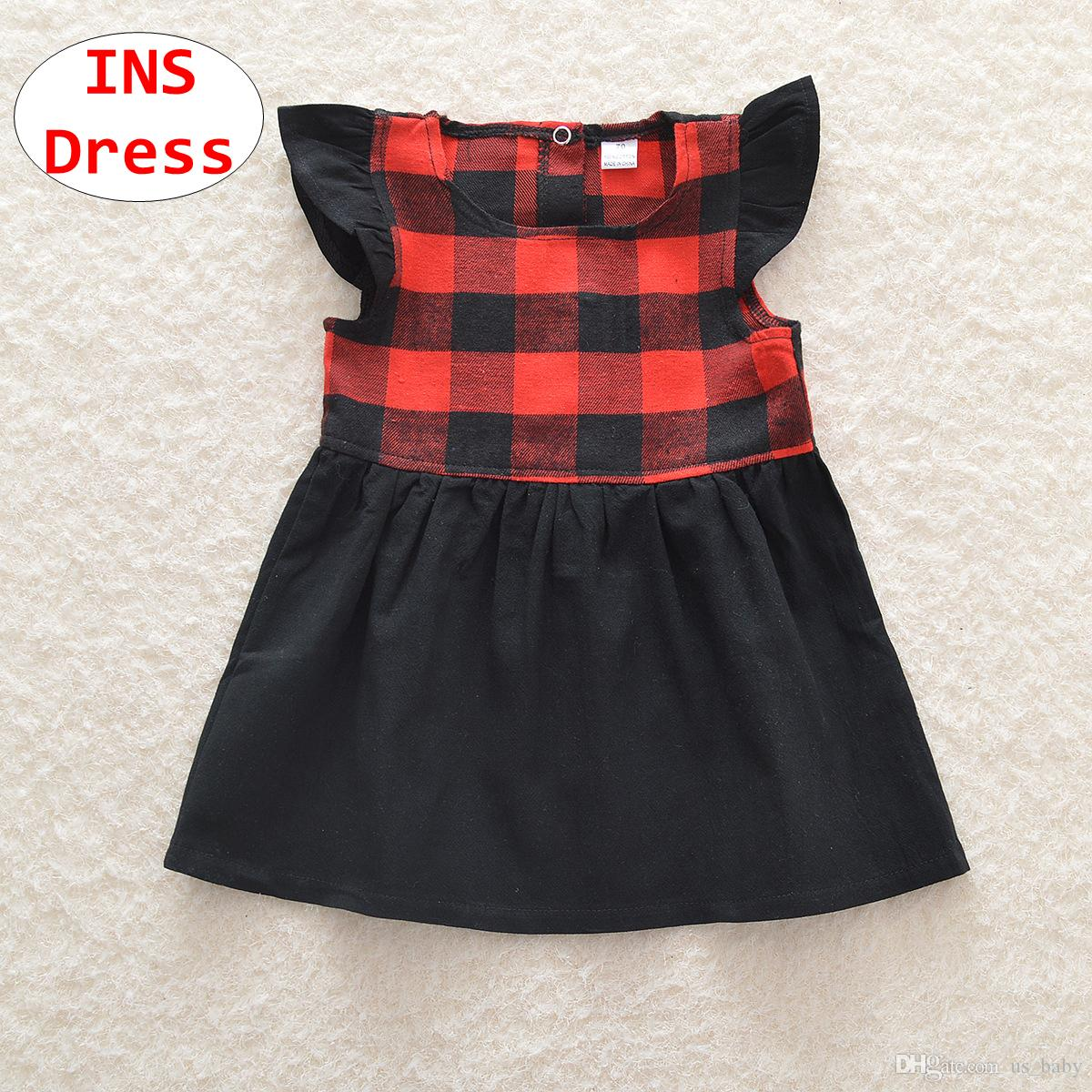 2018 ins girl red plaid dress baby christmas short sleeve dress kids autumn holiday ball gown costume from us_baby 503 dhgatecom - Christmas Plaid Dress
