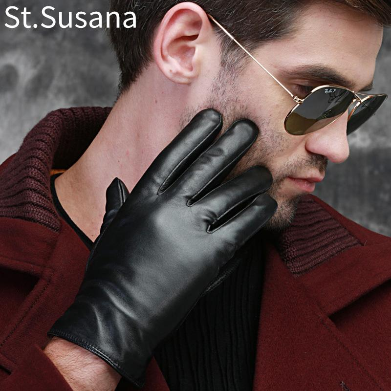 St.Susana 2018 men fashion simple brief England Russian gift show Male sheepskin genuine leather thin short gloves winter D18110705