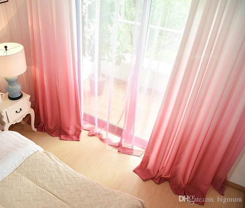 솔리드 컬러 레인보우 여름 커튼 거실 침실 침실 현대 순전히 Voile 패널 5 색 인쇄 100 폴리 에스터 드레이프