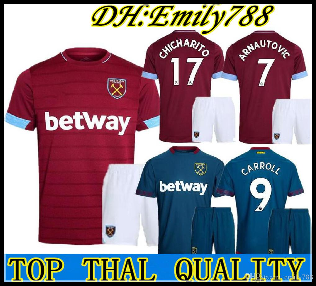 76547c277 18 19 West Ham Soccer Jersey Adult Kit CHICHARITO ARNAUTOVIC Carroll ...
