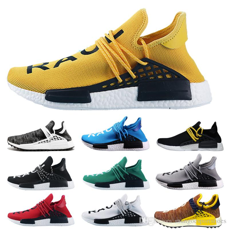 f06f9bcd6 NMD Human Race Trail Running Shoes Men Women Pharrell Williams HU Runner  Yellow Black White Red Green Grey Blue Sport Runner Sneaker 36 47 Mens  Running ...