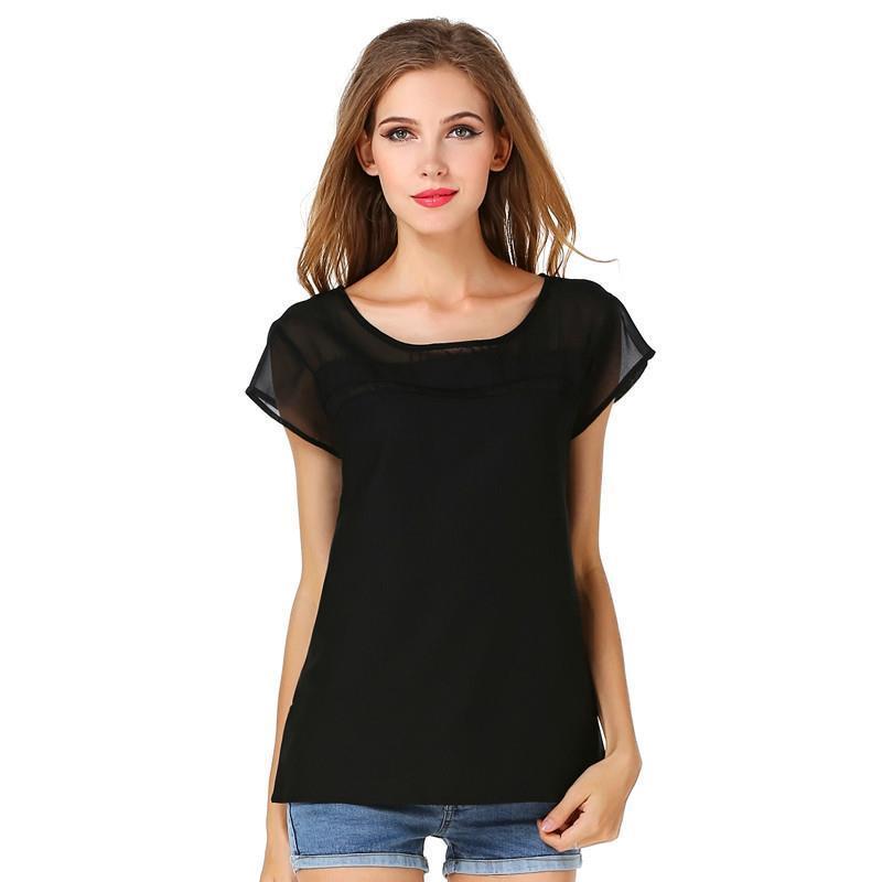 b38a4a47688 2019 2018 Women Chiffon Solid Shirt 2017 New Beautiful Thin Looking Hollow  Short Sleeved Chiffon Shirt Sexy Perspective Splicing For Women From  Longnian, ...