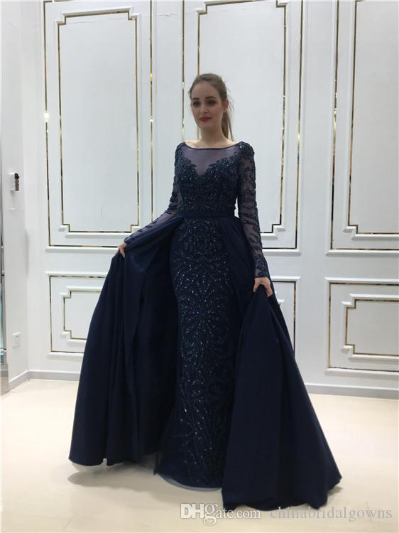 Real Sample Navy Blue Major Crystal Prom Dress With Removable Skirt
