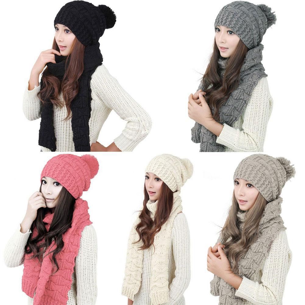 Compre Bufanda Del Sombrero De La Moda De Invierno Gorros De Ganchillo De  Punto Lindo Gorras Para Mujeres Bufanda Caliente Y Sombrero De La Torcedura  De ... 83b9291705e