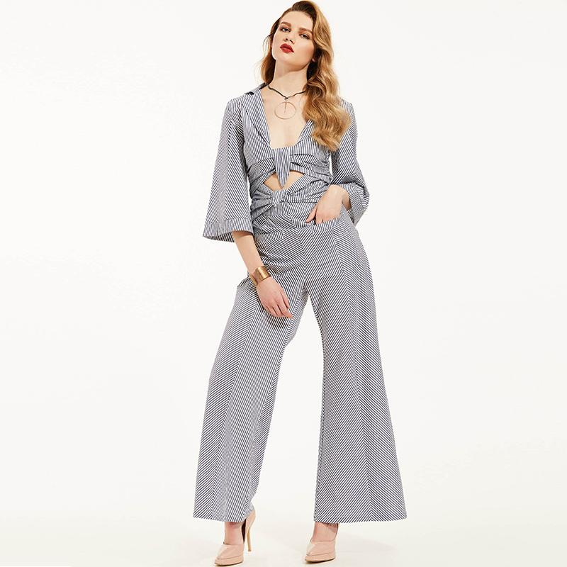 2019 Wholesale Jumpsuits Rompers Women Long Pants Elegant 2017 Autumn Blue  Striped Shirts Playsuits Ladies Hollow Out Sexy Jumpsuits From Wangzi001,  ... 57380105af