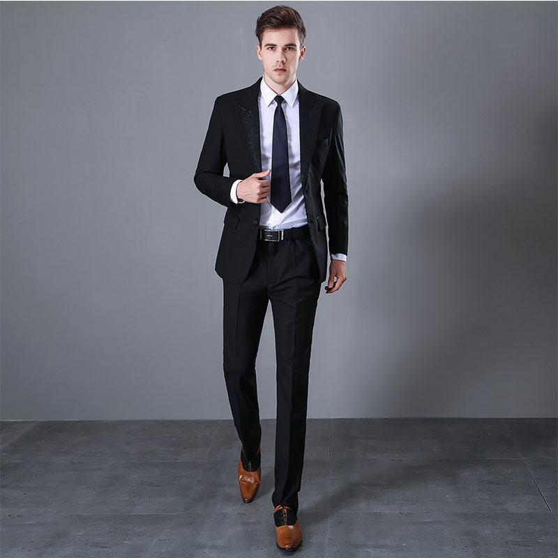 ed367b8ce3001 2018 Fashion Men Suit Attractive Party Prom Tuxedo Mens Casual Style Daily  Work Wear Suits Business men's suit (Jacket+Pants)