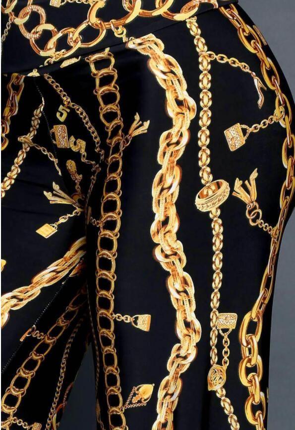 Новые Поступления 2018 Женская Одежда Золотая Цепь Цифровой Печати Длинные Брюки Прямые Брюки Женская Мода Печатных Брюки Высокой Талией Брюки