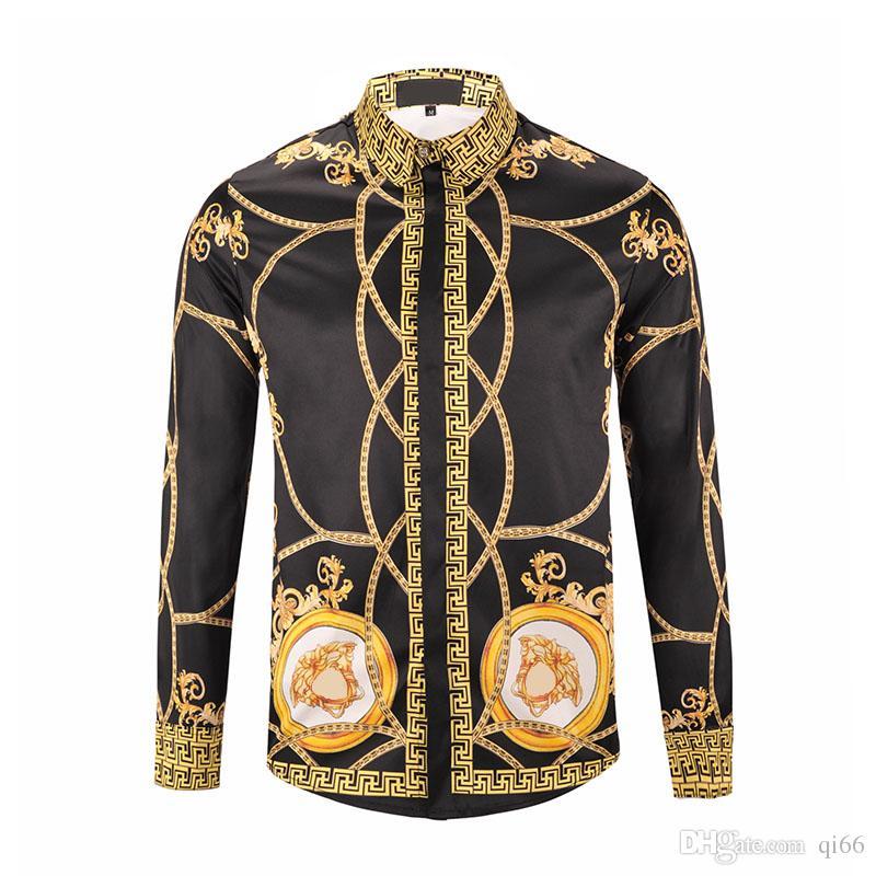 4ad5637024 ... 2019 Camisas Para Hombre De Moda Harajuku Cadena De Oro Dog Rose Diseño  De Marca De Lujo Camisa De Los Hombres De Manga Larga Casual Camisas Medusa  M ...