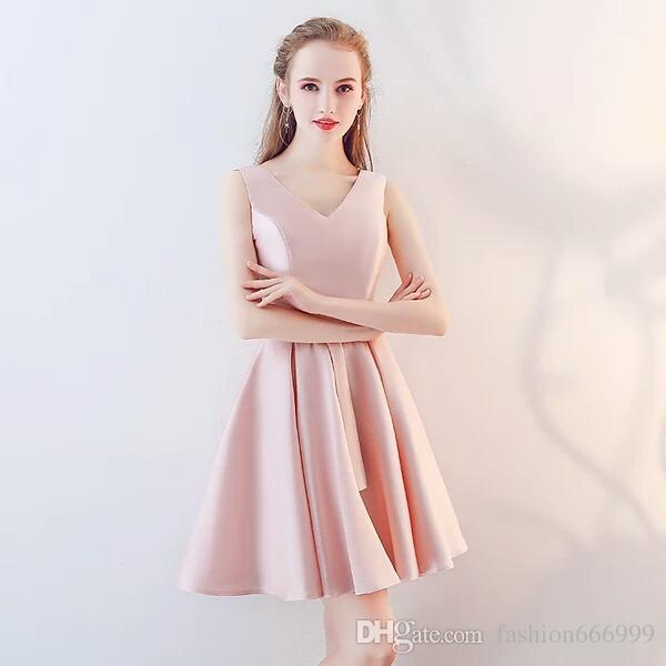 d9bc3bb7123 2019 Bridesmaid Dress Short 2018 New Arrival Spring Pink Korean Style Off  Shoulder Sister Make Someone Look Slimmer Party Feast Demitoilet From ...