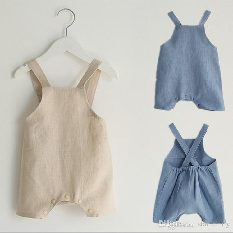 f244a1ff02d1 2019 2018 New INS Baby Jumpsuit Romper Boys And Girls Baby Rompers Summer  Wear Cotton Strap Shorts Boy Girl Romper Suit 6M 2T Kids 416 From  Star emily