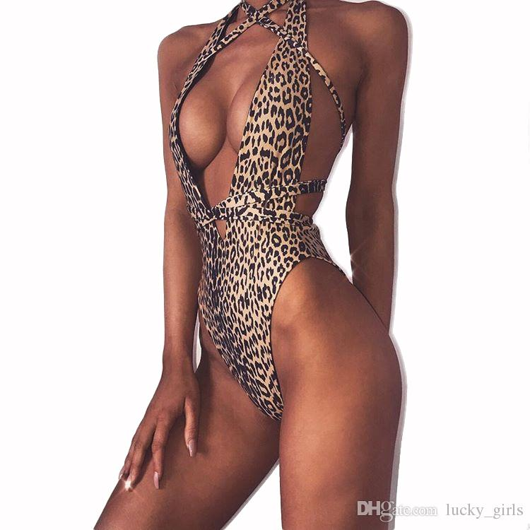 e358456717 2019 Sexy Leopard Cutout Swimwear Women One Piece Swimsuit 2018 Bandage  Thong Bathing Suit Summer Beachwear Swimming Suit Maillot De Bain Badpak  From ...