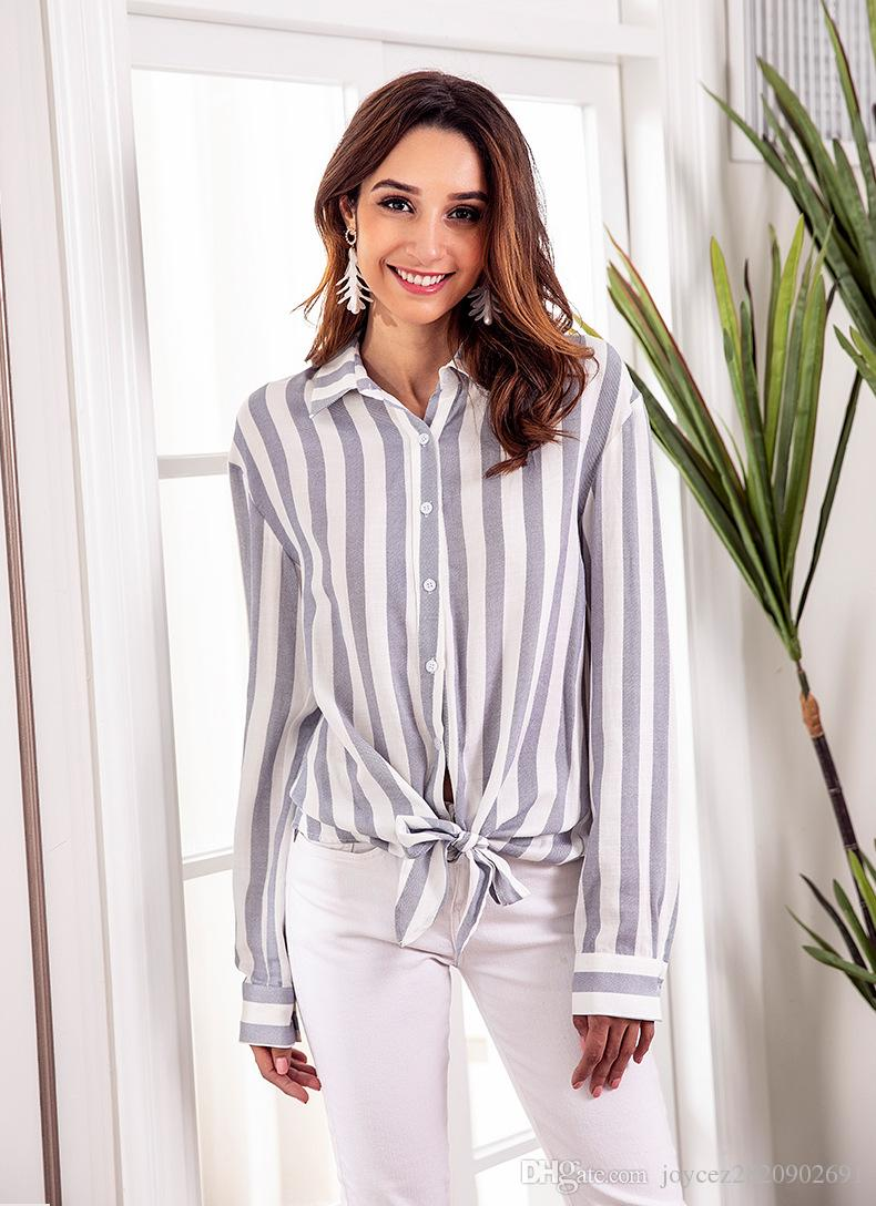 8c9800da35f1be 2019 Women Fashion Turn Down Collar Striped Blouses Pink Shirt Tie Bow Fit  Long Sleeve Tops 2018 Spring Autumn Office Lady Wear From Joycez2820902691,  ...