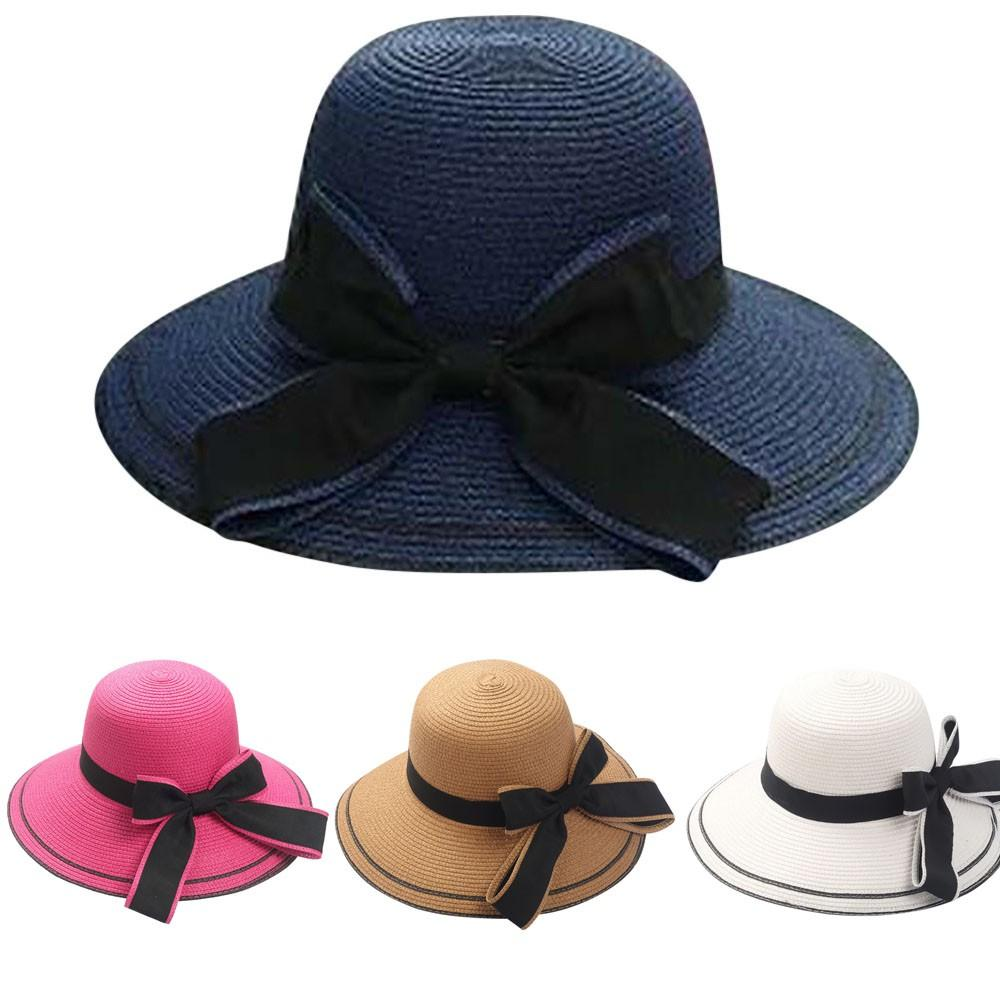 028ec3f13 Summer vintage pure Women s Beach sun hat Floppy Foldable Ladies Women Bow  Straw Beach Sun Summer Hat Wide Brim