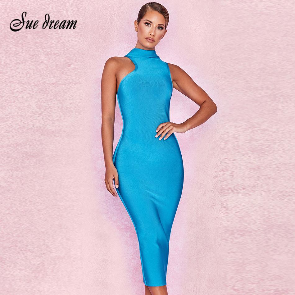 4796147df853 New 2018 Ladies Elegant Bandage Dress Sky Blue High Collar Sexy ...