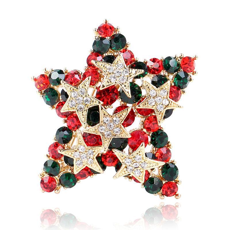 Schmuck Weihnachten.Weihnachten Schmuck Multicolor Strass Pentagramm Broschen Antik Gold Star Brosche Pins Weihnachten Geschenke Für Frauen Und Kinder