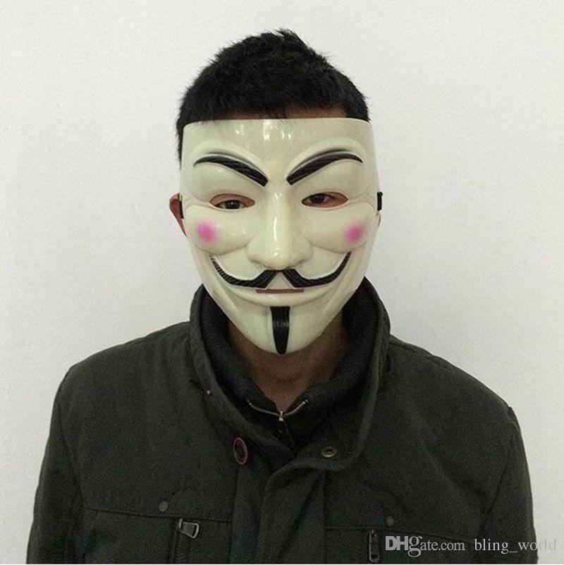 Masque en V jaune V masques avec eye-liner Halloween mascarade masques accessoires de fête Vendetta anonyme film Guy 10 Designs livraison gratuite YW271