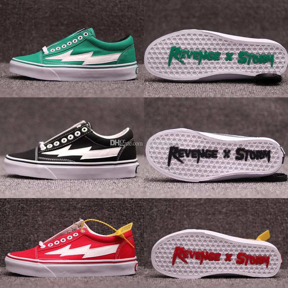 c1218b3c8e60 2019 New Revenge X Storm Old Skool Ii VOL.1 Green Black Red Yellow Canvas  Shoes For Men Women Kendall Jenner Ian Connor Skate Sneakers Size 4 11 From  ...