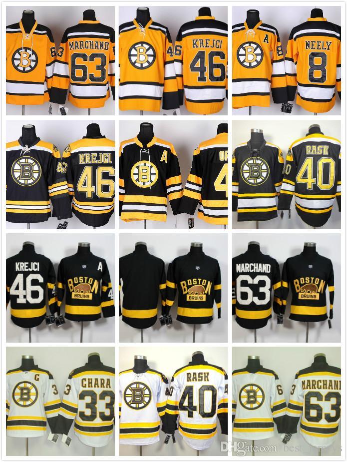 Compre Boston Bruins Nhl   37 Patrice Bergeron 63 Brad Marchand 46 Rask  Krejci 4 Bobby Orr 33 Zdeno Chara 40 Rask Barato Camisa De Hóquei De  Best jerseys 9576f12d9ee45