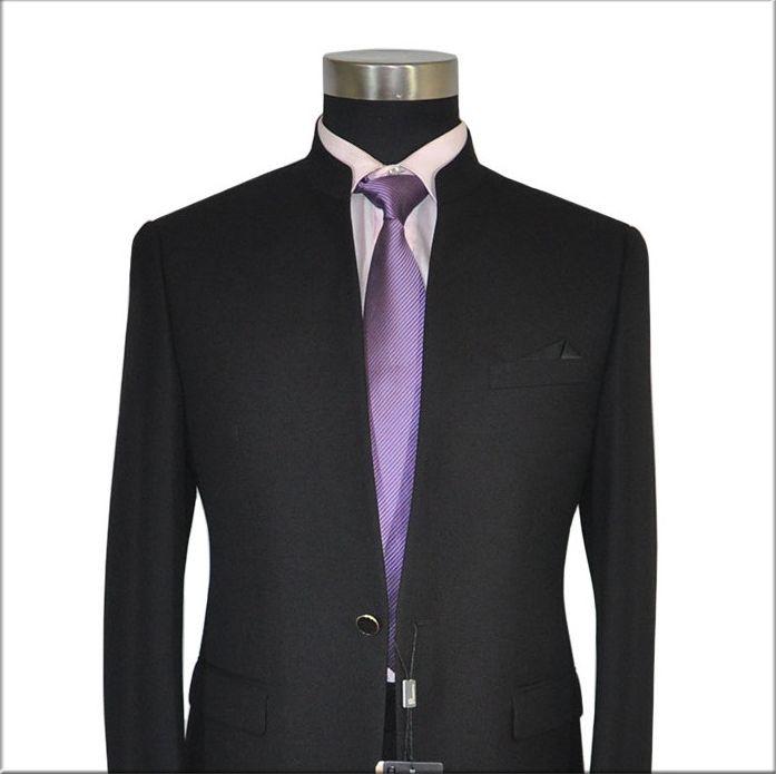 New S-4XL Men Chinese Tunic Collar Bridegroom Suit Formal Wear Dress Slim Fit Mens Suits Groom Wedding Blazer Pants Homme