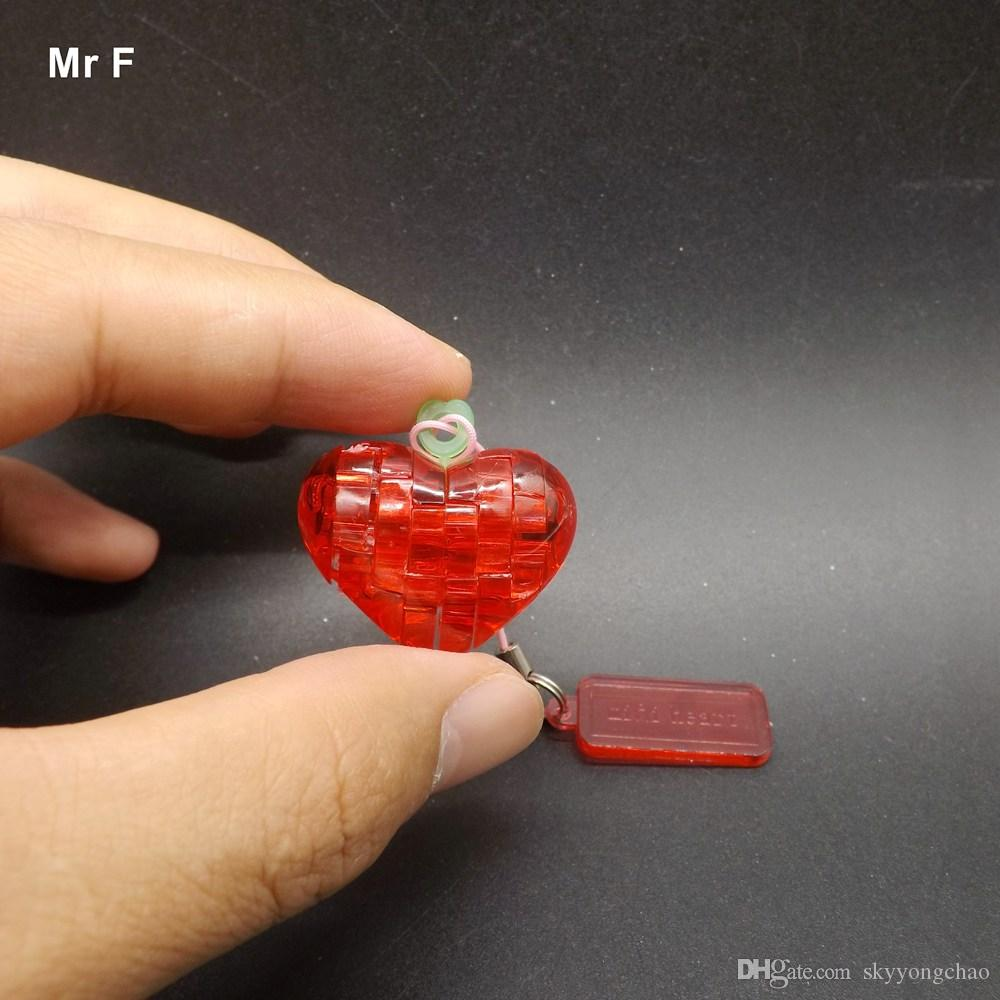 3D Crystal Puzzle Funny Mini Model Magical DIY Crystal Puzzle Heart Red Color Intelligence Toys For Children