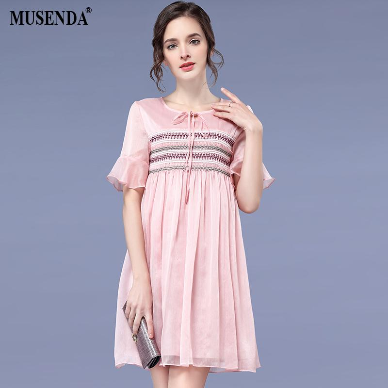 2018 Musenda Plus Size Women Pink Chiffon Short Flare Sleeve Empire