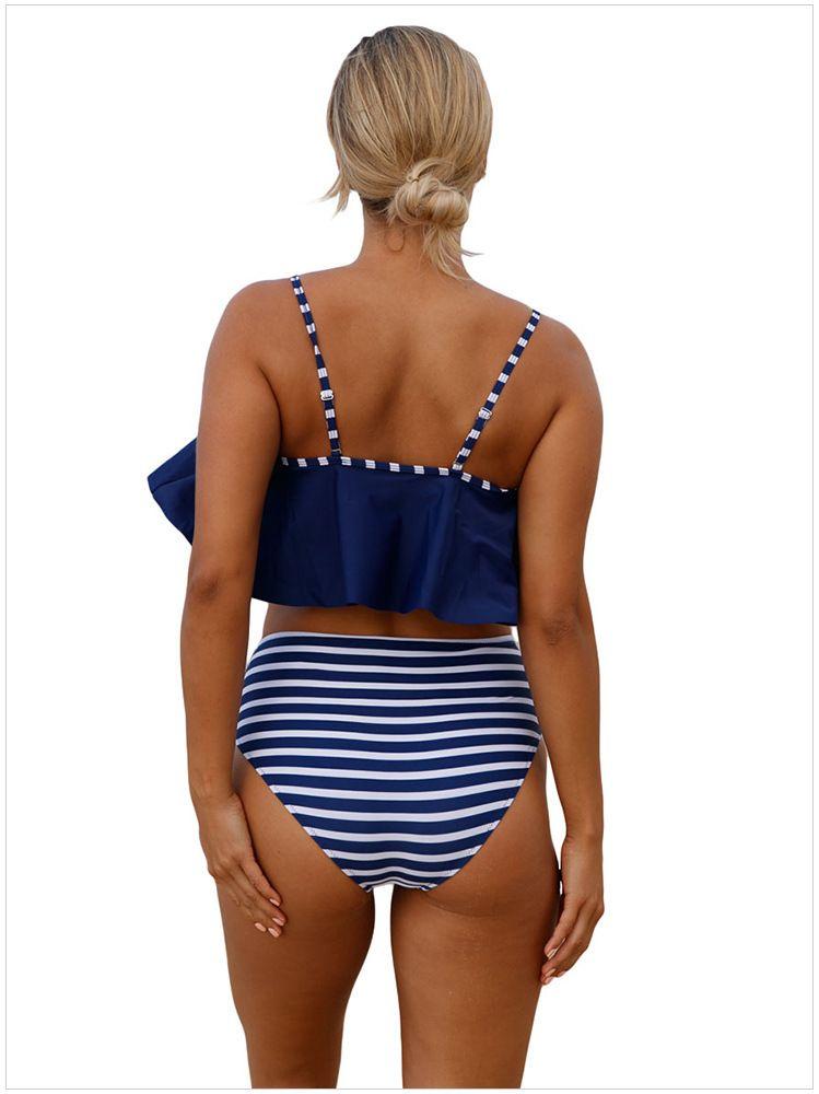 New 2018 High Waist Bikini Two Pieces Set Summer Beach swimwear Padded Wire Free 4 Designs Swimsuit Women Clothes