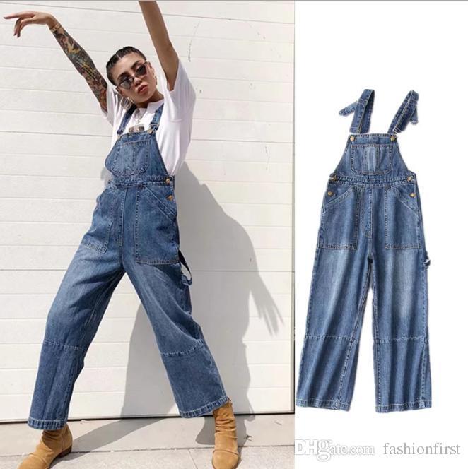 d0c8a3188b5c6b Automne Hiver Porter Lâche Jumpsuit Vintage 90 Bleu Denim Jean Grunge Bib  Ensemble Pantalon Combinaison Taille Haute Denim Salopette