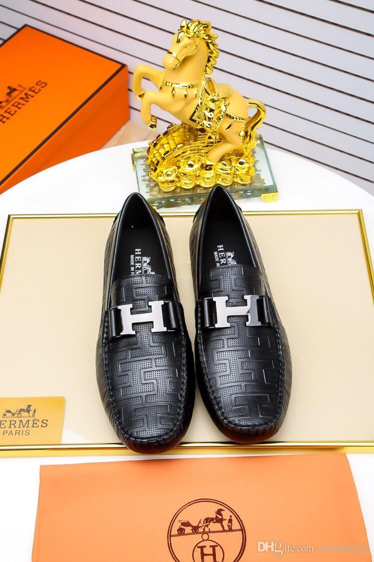dd3528222724 2018 Italian Luxury Brand Men Genuine Leather Shoes Luxury Handmade Loafers  Slip On Italian Brand Designer Male Dress Shoes Nude Shoes Womens Sandals  From ...