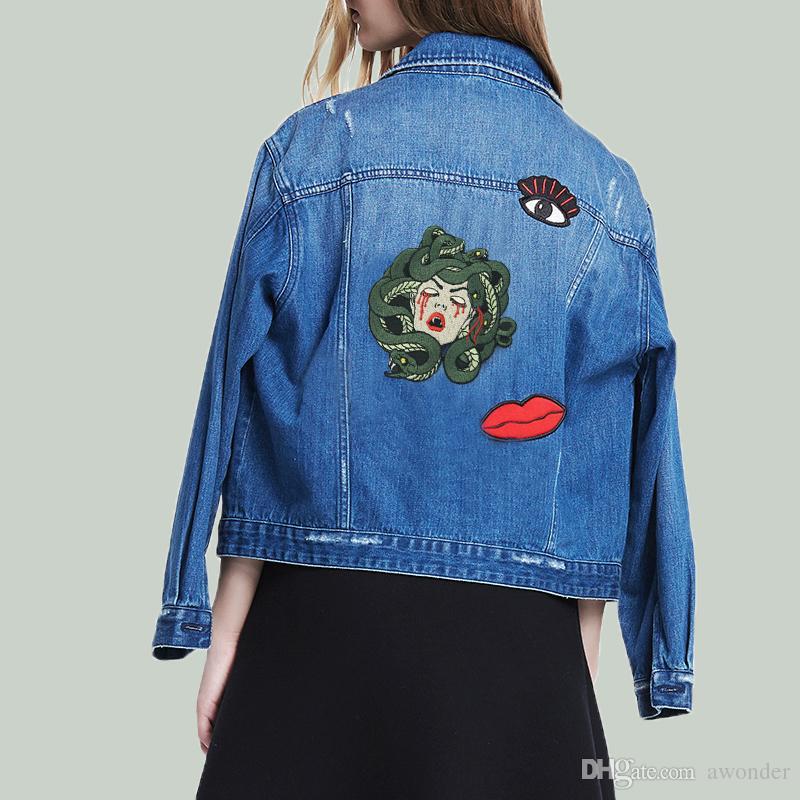O Sangramento Medusa Mend Remendos Bordados de Ferro Em Costura Applique Crachá Roupas Grandes Remendo Adesivos Para Jaquetas Jeans Acessórios de Vestuário