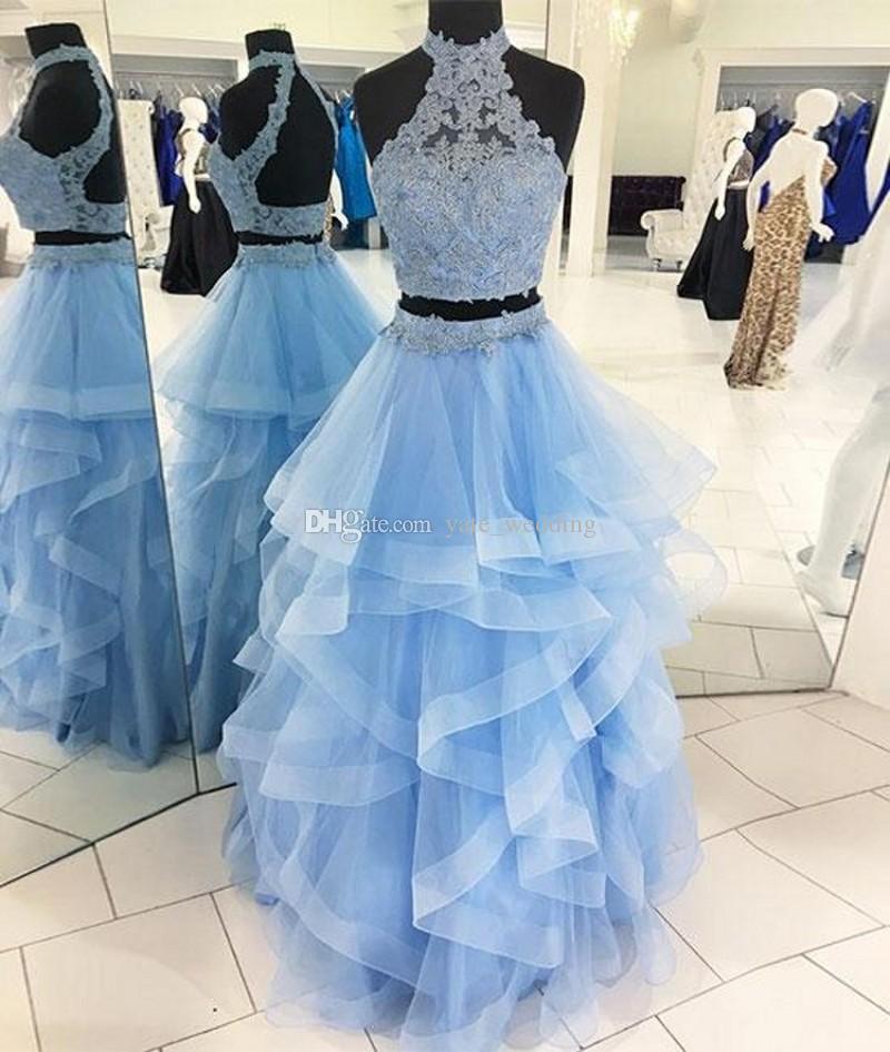 라이트 스카이 블루 두 피스 댄스 파티 드레스 높은 목 레이스 얇은 명주 그물 티셔츠 볼 가운 Quinceanera 드레스 백 레스 샴페인 스위트 16 가운