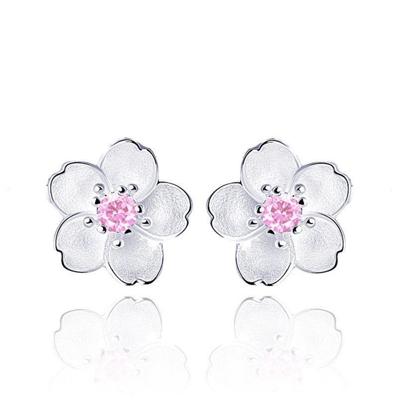 Nette Kleine 925 Sterling Silber Kirschblüte Blume Set Rosa CZ Stud Ohrringe Für Frauen Mädchen Kid Schmuck Orecchini Aros aretes