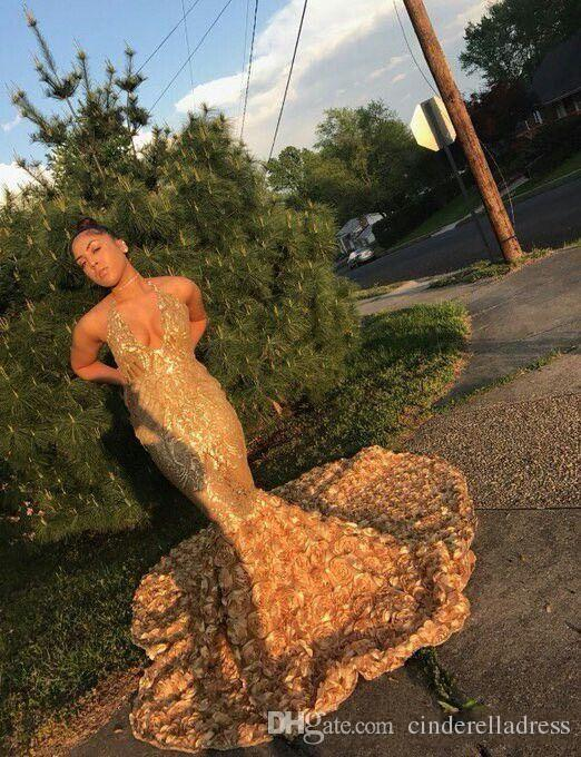 2019 Arabic Gold Deep V Neck Sexy Prom Dresses With Rose Train Low Back Mermaid Evening Gowns Count Train African Party Dress BA8147