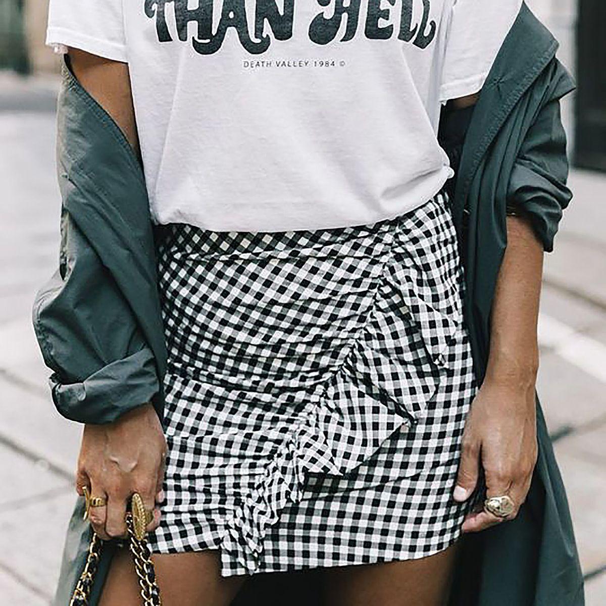 c7c3f397e215da Volants de mode ourlet asymétrique Mini jupe à carreaux taille haute wrap  élégant jupes crayon femmes noir court ruché Saias