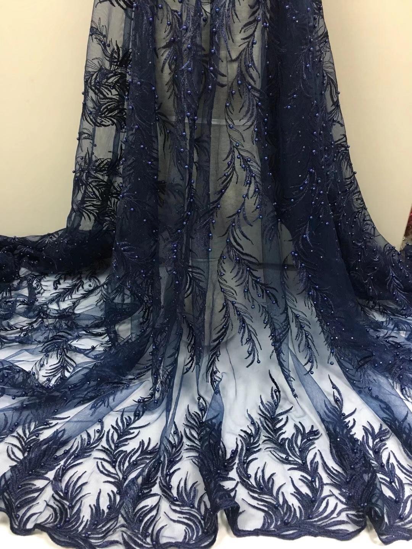 Nouvelle arrivée 5 verges dentelle nigérienne nouvelle conception robe de mariée française pour la robe de soirée, tissu de dentelle d'Afrique coudre brodée robes de bricolage en dentelle de tulle