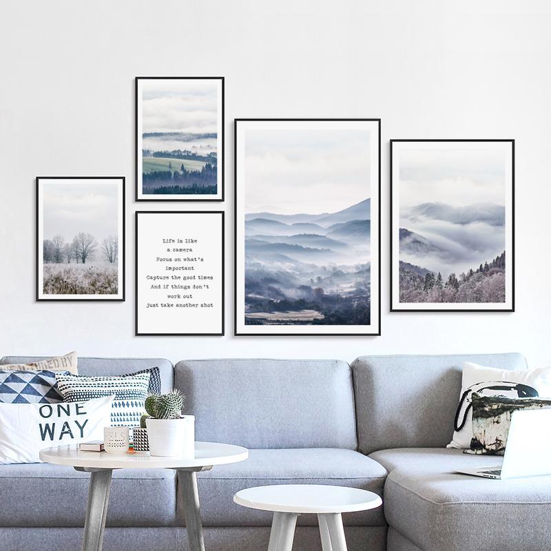 Satın Al Iskandinav Doğa Manzara Orman Tuval Boyama Posterler Ve