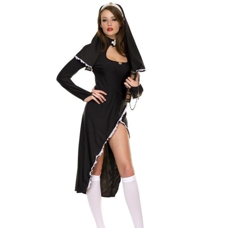 Halloween Costumes For Women 2019.Hot Arab Clothing Sexy Halloween Costume For Women Black Monk Cosplay Fancy Dress Uniform Ladies Sexy Nun Halloween Costumes