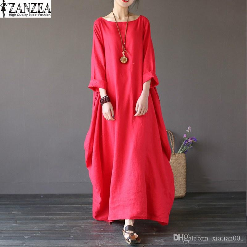 All'ingrosso- 2018 ZANZEA Womens Girocollo maniche a 3/4 Baggy Maxi Long Casual Camicia vestito da partito Kaftan Robe solido Vestido Plus Size