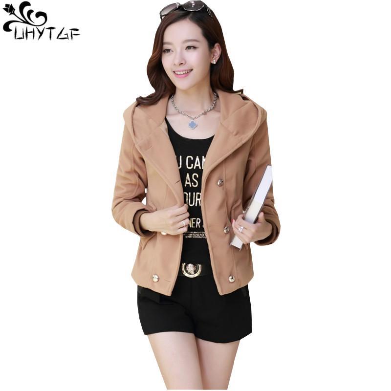 b382494bf 2019 UHYTGF Plus Size Women Spring Short Woolen Coat 2018 Korean Style  Fashion Hooded Tops Girl Coats Elegant Casual Women Jacket 377 From Blairi,  ...